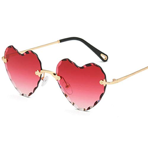 Rjjdd 2018 New Love Heart Shape Sonnenbrille Damen 2018 Randlose Fassung Tönung Klare Linse Bunte Sonnenbrille Rot Rosa Gelb Schattierungen Rot