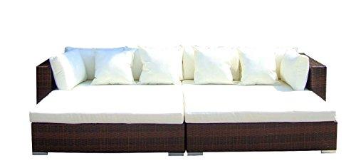Baidani Gartenmöbel-Sets 10d00001.00002 Designer Rattan Lounge Paradise, 2 Sofas, Sitzauflage, Kissen, braun