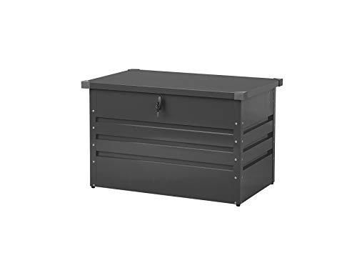 Beliani Outdoor Kissenbox Auflagenbox aus Metall Graphitgrau Gartentruhe Cebrosa