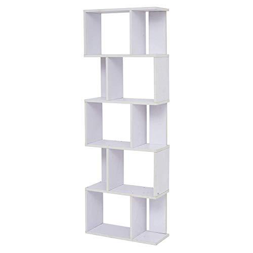 Rebecca Mobili Etagere a Livres pour Salon, Bibliotheque Blanc pour Chambre, 10 Niveaux Bois Mdf, Moderne - Dimensions: 172,5 x 60 x 24 cm (HxLxL) - Art. RE4585