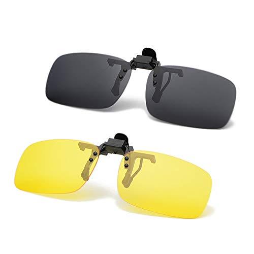 JEEDA Unisex-Sonnenbrille Rahmenlose Rechteckige Sonnenbrille Brillenfilter Starkes Licht für Myopie, Randlose Anti-Glare-Nachtsichtlinse zum Hochklappen, 100% UVA/UVB-Schutz, 2er-Pack