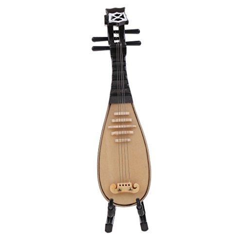 MagiDeal 1/12 Puppenhaus Miniatur Musikinstrument Klavier/ Pipa/ Yueqin/ Sousaphon/ Holzgitarre Mit Display Ständer - Pipa