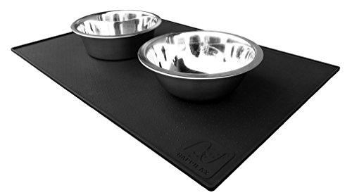 Premium Napfunterlage aus Silikon für Hunde und Katzen mit extra hohem Rand und Noppen in zwei Größen | Happilax (L (60 x 40 cm), Schwarz)