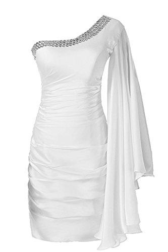 Sunvary Ein-Schulter mit Aermel Abendkleider Kurz Ballkleider Partykleider Weiß