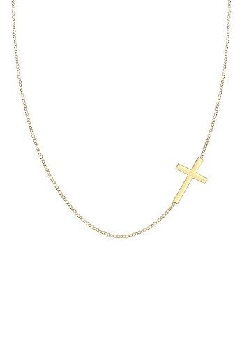 Elli Damen Schmuck Halskette Kette mit Anhänger Religion Glaube Trend Silber 925 Vergoldet Länge 45 cm