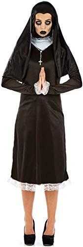 Fancy Me Damen Weeping Horror Nonne Unheimlich Gothik Religiös Halloween Tv Buch Film Kostüm Kleid Outfit UK Größe 8-26 Übergröße - Schwarz, UK 20-22