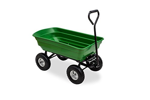 JOM Gartenwagen mit Kippfunktion, Lenkachse Ruftreifen Bollerwagen Muldenkipper Kippwagen Transportkarre Gartenkarre