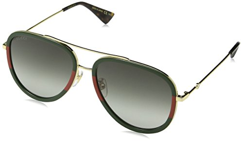 Gucci Unisex-Erwachsene GG0062S-003 Sonnenbrille, Braun (Dorado/Verde/Rojo), 57