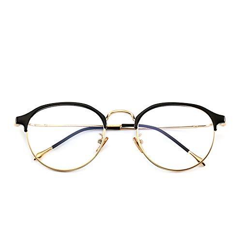 Yangjing-hl Halbrand optischer Flachspiegel Harajuku Retro Literarische Gezeiten Männer und Frauen runde Brillengestell schwarz Goldrahmen