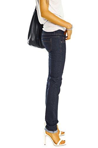 Bestyledberlin Damen Skinny Jeans Röhrenjeans, Hüftjeans Hose Slim Fit Stretch Jeanshose j0axx Dunkelblau