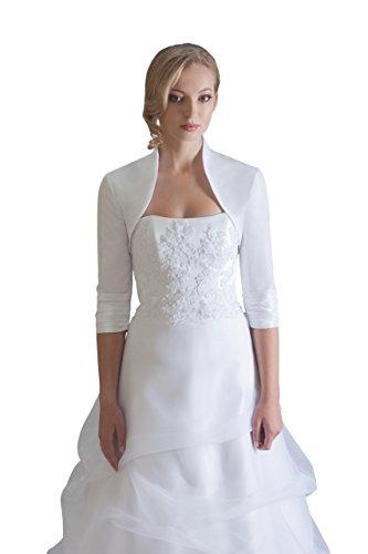 Hochzeits Bolero Brautkleider Jacke Braut aus Taft - BE208 (S, weiß)