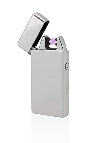 TESLA Lighter T05 | Lichtbogen Feuerzeug, Plasma Double-Arc, elektronisch wiederaufladbar, aufladbar mit Strom per USB, ohne Gas und Benzin, mit Ladekabel, in Edler Geschenkverpackung, Silber