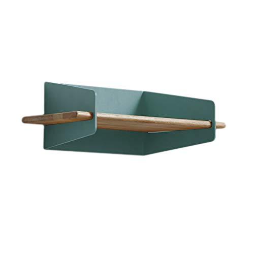 NBgy Wandregal, Kleine Schmiedeeiserne Rahmen Auf Der Schlafzimmer-Studie Wand, Massivholzregal, Wohnzimmerdekoration, 3 Farben, 28x10x13cm (Farbe : Blau) -
