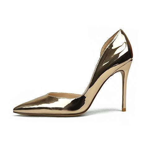 Fenghz-Shoes Schuhe Mode Dorsay Pumps für Damen Hohe Stiletto Absätze Spitze Zehenseitenschnitt Lack Kunstleder Sexy Schuhe Spitze Zehenspitze: Spitz, Klassische Slip-On-Pumps -
