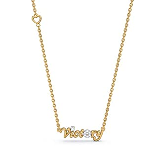 BlueStone 18k (750) Yellow Gold and Diamond Victory Script Chain Necklace