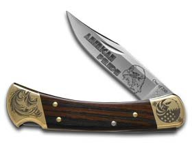 Buck 110 American Pride Ebony Wood Folding Hunter 1/250 Stainless Custom Pocket Knife Knives