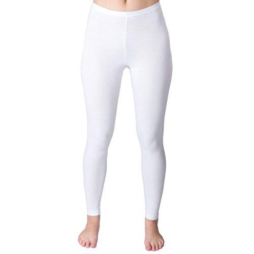 HERMKO 1720 2er Pack Damen Legging aus 100% Baumwolle, Leggin, Farbe:weiß, Größe:44/46 (L) -