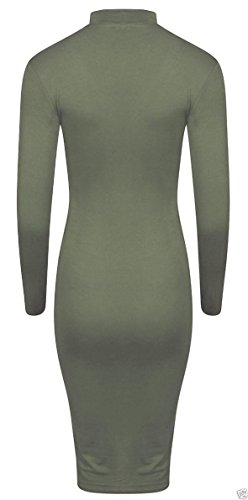 Damen Langarm Choker V-Ausschnitt Bodycon Midi Dress EUR Größe 36-54 Khaki