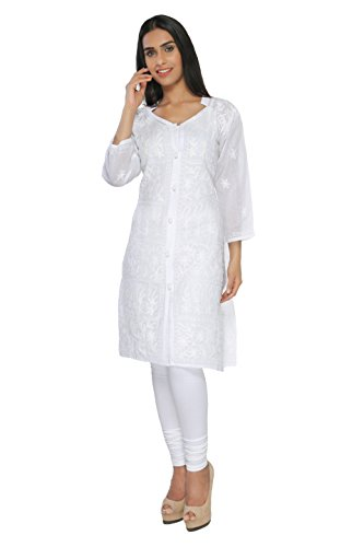 BDS Chikan Cotton Base White Colour kurti For Woman White Thread Work...