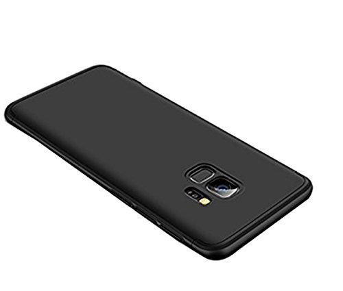 Samsung Galaxy S9 Plus Hülle,360 Grad Ganzkörper Schutz 3 in 1 Handyhülle Hart Schrubben PC mit Plating Kappen Bumper Cover Hart PC Case für Galaxy S9 + (Samsung Galaxy S9 Plus, Schwarz)