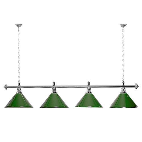 Billardlampe 4 Schirme grün / silberfarbene Halterung