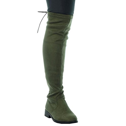 Angkorly - Chaussure Mode Botte cavalier motard souple femme lacets Talon bloc 3 CM Vert