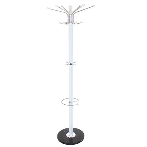 TecTake® Garderobenständer Kleiderständer mit stabiler Steinplatte ca. 172 cm hoch weiß Metall
