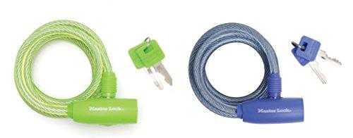 Master Lock 8212EURDPRO Cavo Spirale a Chiave, Blu/Verde, 1,80 m, Diametro 8 mm