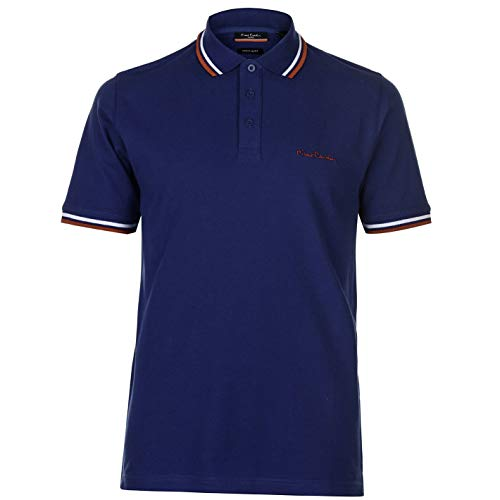 Kontrast-kragen Piqué Polo-shirt (Pierre Cardin Herren Tipped Golf Polo Streifen Shirt Hemd Pique PCPE 14 basisch Einfach Night Blue Medium)