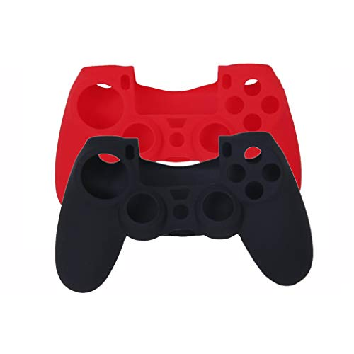 Electomania® Silicone Protective Skin Case Cover for Sony PlayStation 4 PS4 Controller set of 2(Black & Red)