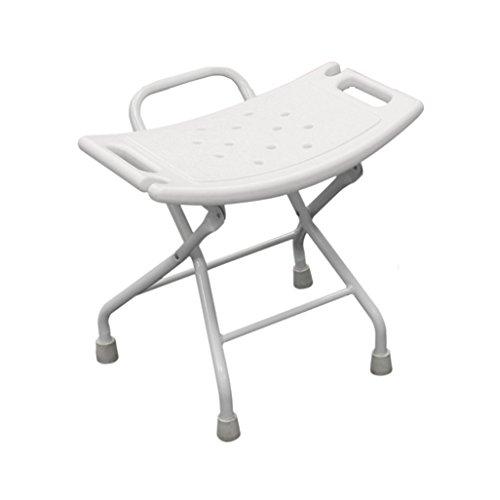 Silla plegable de la ducha Aleación de aluminio Taburete plegable del asiento de la ducha para el anciano / minusválido Taburete antirresbaladizo del asiento de la ducha con el asiento de baño de la cerradura y de la manija de seguridad en blanco Max. 100kg