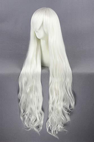 Reines Weiß Lange Lockige Perücke mit Pony Mädchen Weiß Halloween Cosplay Anime Perücke ()
