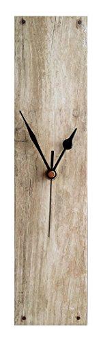 Superbe Horloge murale aspect bois chêne Beige, Céramique, noir, Portrait