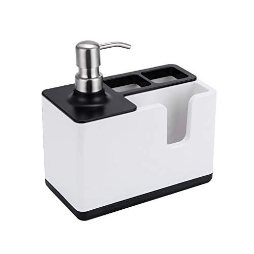GCF Kunststoff-Seifenspender, Multifunktions Abnehmbar mit Abtropfschale, integrierte Zahnbürste, Zahnpasta-Aufbewahrungsbox, Rutschfeste Flüssigkeitsemulsionspumpe, 19x10x20,5 cm (Farbe : Schwarz) -