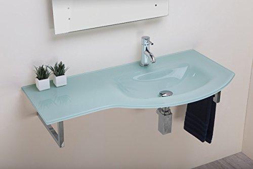 Arredo bagno lavabo lavamano in vetro float 97 cm con supporto in acciaio inox - vasca sinistra