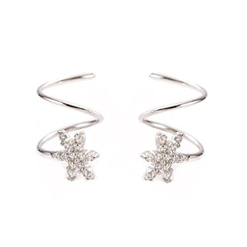 FarryDream 925 Sterling Silber Kristall Schneeflocke Manschette Ohrringe für Frauen Teenager Mädchen Mode Wickelohrringe - Schneeflocke Cuff Ear