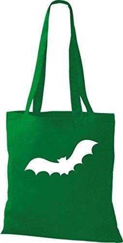 Stoffbeutel; Tiermotiv Fledermaus, Bat, Halloween; Farbe Kelly