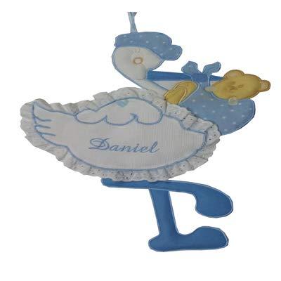 Fiocco nascita/coccarda cicogna con aida ricamabile a punto croce azzurro lavorato del tutto a mano