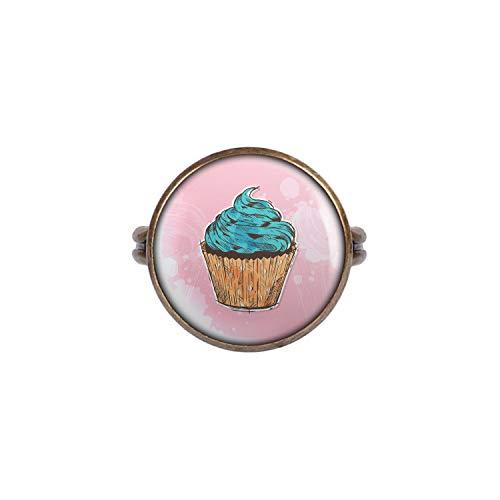 Mylery Ring mit Motiv Cup-Cake Kuchen Türkis Rosa Comic Style Bronze 16mm
