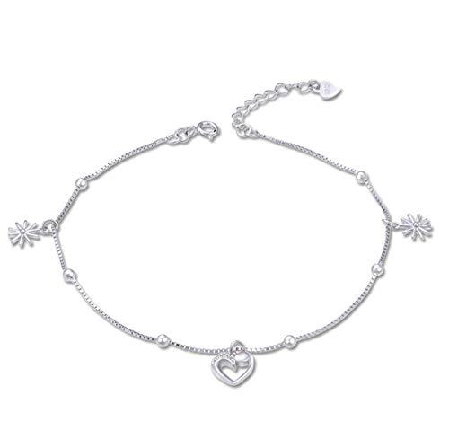 Beglie Damen Fußkettchen 925 Sterling Silber Gänseblümchen Hohles Herz Knöchel Fußkettchen Silber Geschenk für Damen