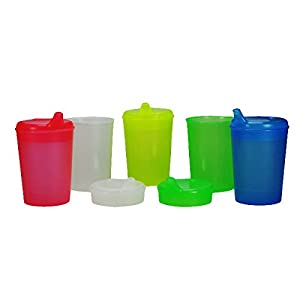 Schnabelbecher 250 ml Set 5 Unterteile + 10 Deckel (Öffnung 5 Stück 12 x 10mm u. 5 Stück 4 x 4mm) in versch. Farben von Medi-Inn