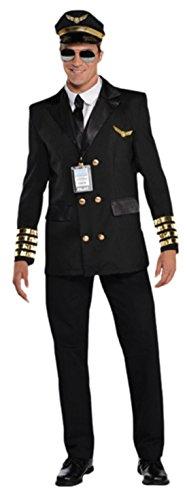 erdbeerloft - Herren Kostüm Kapitän Wingman, Schwarz, (Wingman Kostüm)