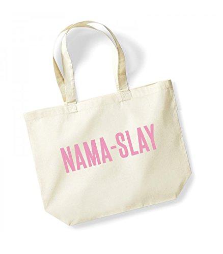 Nama-Slay - Large Canvas Fun Slogan Tote Bag Natural/Pink
