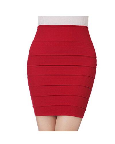 DAYAN Le donne sexy di estate alta vita pieghettato Skinny Mini Bandage dress Colore rosso Taglia unica