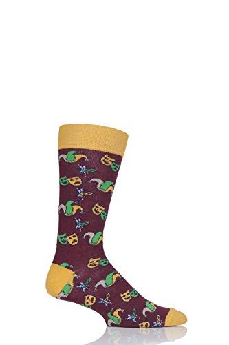 Feiern Mardi Gras (Herren 1 Paar Moustard Mardi Gras Baumwolle Socken Rot 41-45)