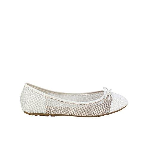 Cendriyon, Ballerine Blanche Résille BELELI Chaussures Femme Blanc