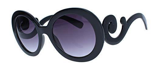 amashades Vintage Classics Große runde Damen Retro Sonnenbrille im Designer Look 60er 70er Jahre dicker breiter Rahmen Bügel geschwungen verschnörkelt PR93 (Schwarz) (70er-jahre-looks Für Damen)