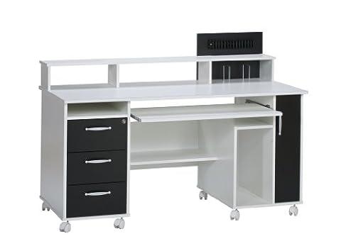 MAJA-Möbel 9475 3537 Schreib- und Computertisch, weiß uni - schwarz,