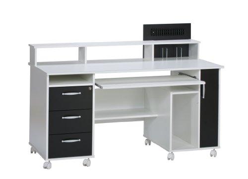 MAJA-Möbel 9475 3537 Schreib- und Computertisch, weiß uni - schwarz, Abmessungen BxHxT: 141,6 x 104,6 x 67 cm