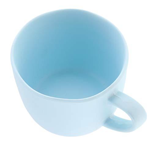 non-brand Baoblaze Tasse à Café avec Soucoupe Empilable en Plastique Écologique - Tasse Bleue